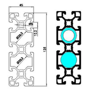 نقشه پروفیل آلومینیوم شیاردار مهندسی 45x135