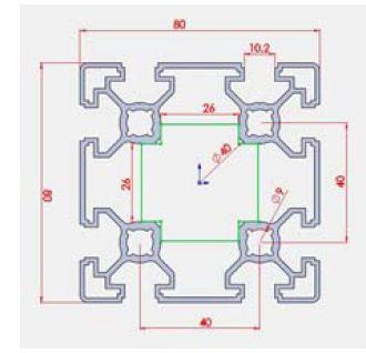 نقشه پروفیل آلو مینیوم شیاردار مهندسی 80x80