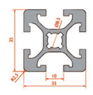 نقشه پروفیل آلومینیوم شیاردار مهندسی سنگین 35x35