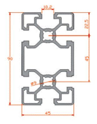 نقشه پروفیل آلومینیوم شیاردار مهندسی سبک 45x90